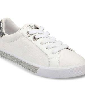 GUESS Meggie Silver Glitter Tennis Shoes